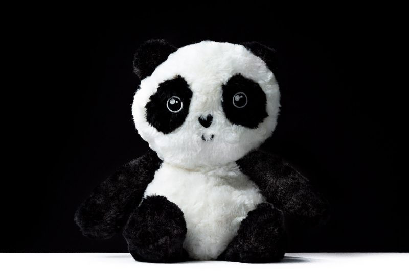 Panda bear plush toy on a black background